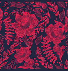 red flowers on a dark background hand drawing vector image