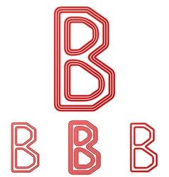 Red letter b logo design set vector image