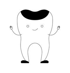 Restored tooth cartoon in black silhouette vector