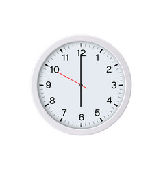 Round white wall clock showing six oclock vector