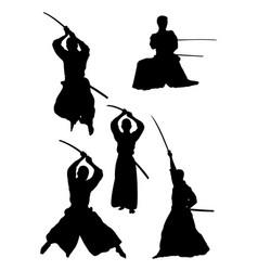 samurai gesture silhouette 03 vector image