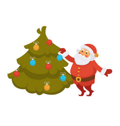 Santa decorating christmas tree new year vector