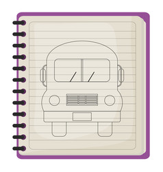 school notebook with bus drawing vector image