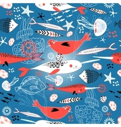 Seamless pattern with seals and whales vector