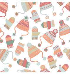 seamless winter background hats mittens vector image