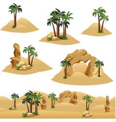 Set elements to design desert landscape scenes vector