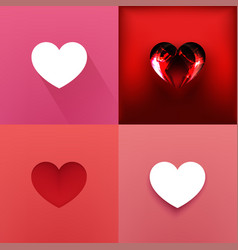 set of hearts valentine day vector image