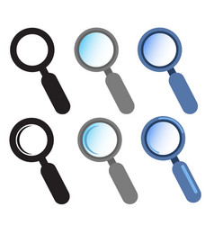 set of isolated magnifying glass icon vector image