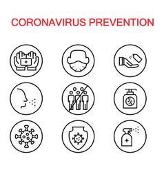 Simple icon set coronavirus protection vector