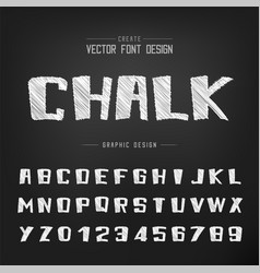 sketch cartoon font and alphabet chalk bold vector image