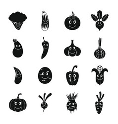 smiling vegetables icons set simple style vector image
