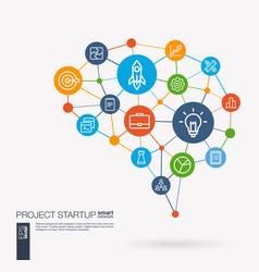 Startup web development light bulb rocket vector