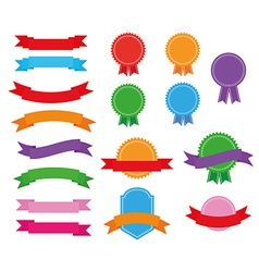 Stickers badges and ribbons vector