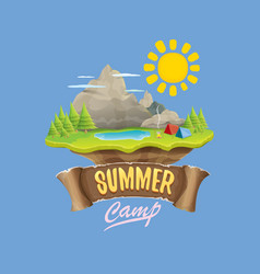 Summer camp kids logo concept with vector