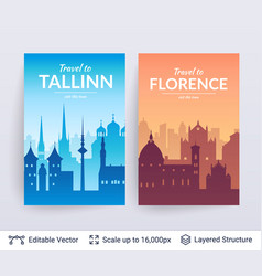 tallinn and florence famous city scapes vector image