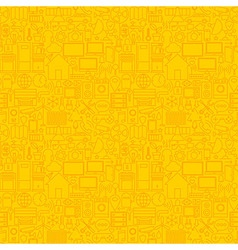 Thin Smart House Line Seamless Yellow Pattern vector image