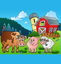 Three farm animals near barn vector