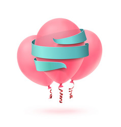 Three pink balloons isolated with blue ribbon on vector