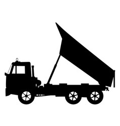 Tipper dump truck unloading vector
