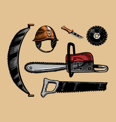 tools for cutting trees saw or chainsaw and vector image