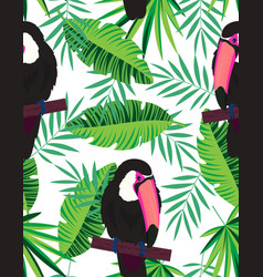 topical seamless pattern with toucans vector image