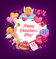 valentines day love hearts cupids romantic gifts vector image