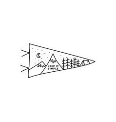 Vintage simple camp pennant logo designs outdoor vector