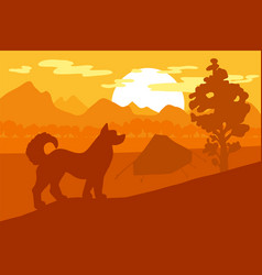 walking dog in forest mountain camp vector image