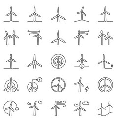 wind turbine outline icons set - wind power vector image