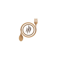 wooden fork and spoon with hot plate for logo vector image