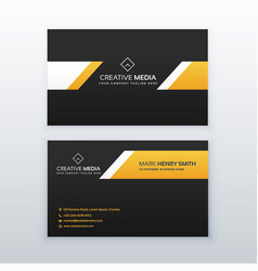 yellow and black elegant business card design vector image