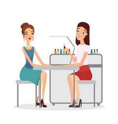 Young women in manicure vector