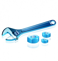 adjustable spanner with screws vector image