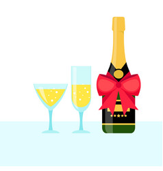 bottle of champagne and filled glasses vector image