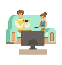 couple sitting on the sofa with joystickspart of vector image