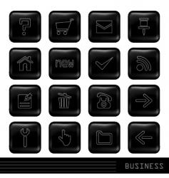 glossy black icons set vector image