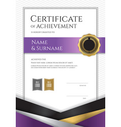 Portrait luxury certificate template with elegant vector