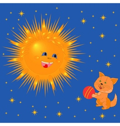 Sun And Kitten With A Ball vector image