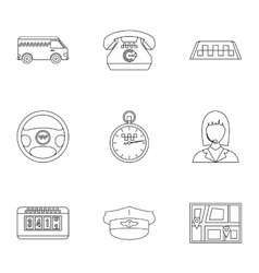 Taxi ride icons set outline style vector image vector image
