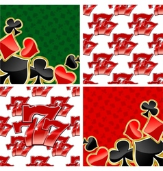 777 seamless patterns and card suits backgrounds vector image