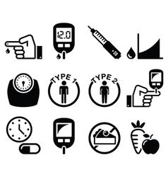 Diabetes disease health icons set vector image vector image