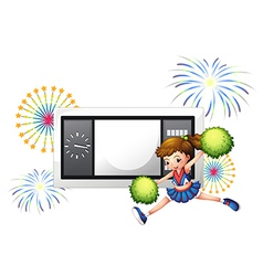A cheerleader dancing in front of a scoreboard vector image vector image