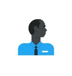 Black man side view turned head security work vector