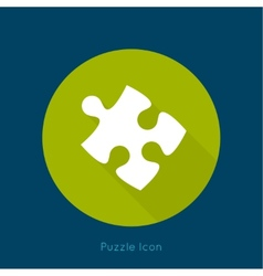 Icon puzzle piece with a long shadow vector image
