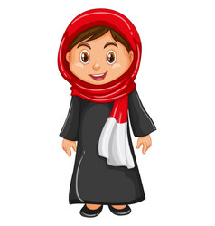 irag girl in traditional costume vector image vector image