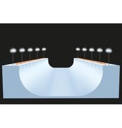 Snow half pipe at night vector image