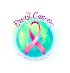 Breast cancer ribbon and world awareness women vector image vector image