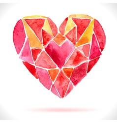 Bright color mosaic watercolor heart vector image vector image