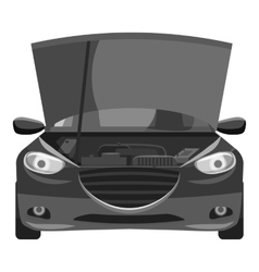 Car with open hood icon gray monochrome style vector image vector image