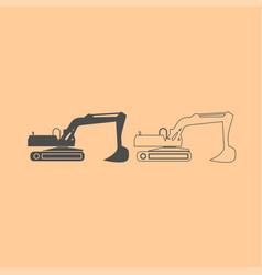excavator dark grey set icon vector image vector image